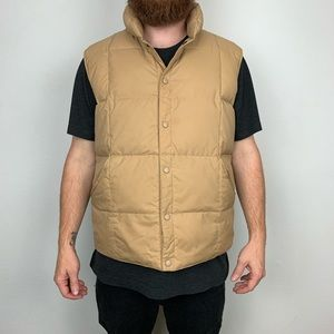 Lands End Tan Goose Down Puffer Vest Size M